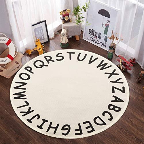 ABC - Alfombra redonda para niños, 122 cm, de algodón con borlas, suave, educativa, lavable, para guardería, tienda de campaña de...