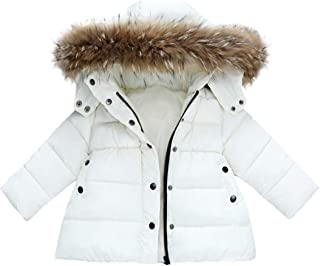 QCHENG Girls' Boys' Winter Thicked Down Cotton Coat Puffer Jacket Coat Parka with Fur Hood