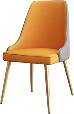 LJFYXZ Dining Chairs Dressing Chair PU Leather seat Home Office Armchair Kitchen Living Room with Metal Legs 52x45x88cm (Color : Orange)