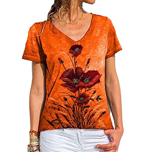 Camiseta Mujer Tops Mujer Suelta Cómoda Elegante Estampado Floral con Cuello En V Manga Corta Blusa Mujer Vacaciones Verano Casual Retro Moda Mujer T-Shirt D-Orange M