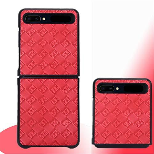 SHEAWA mobiele telefoonhoesje f7000 opvouwbaar scherm Holster beschermhoes voor Samsung Galaxy Z Flip Accessory, Red Gold, Weave Patroon Rose Rood
