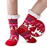 AIDEAONE Frauen Weihnachten Knit Slipper Socke Pelz Fleece Warm-Nicht Beleg-Stiefelette Pompom Gefüttert