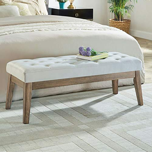 WEMART Velvet Upholstered Tufted Bench with Solid Wood Leg,Ottoman with Padded Seat- Light