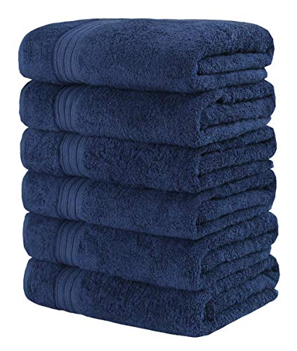 GraceAier - Juego de toallas de mano grandes de algodón suave (gris, paquete de 6, 41 x 71cm), algodón, azul, Hand Towels