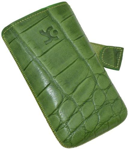 Suncase - Custodia in Pelle con meccanismo di Estrazione Facile per Samsung Galaxy Ace S5830i e S5830, Verde con Trama a Coccodrillo