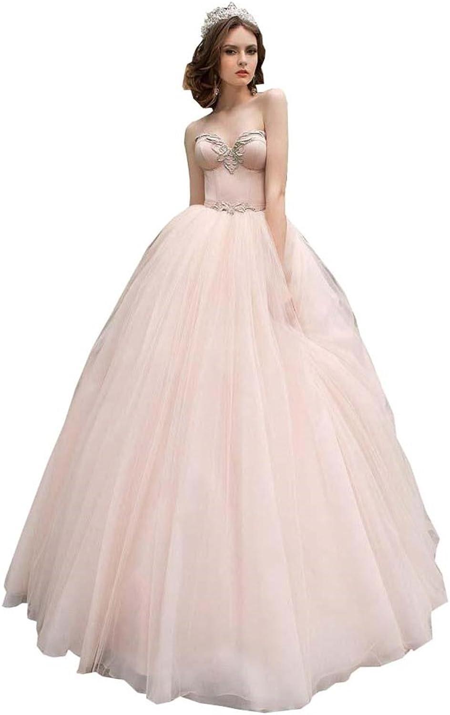 Ellystar Women's Ball Gown Tulle Sleeveless LaceUp Sweetheart Wedding Dresses