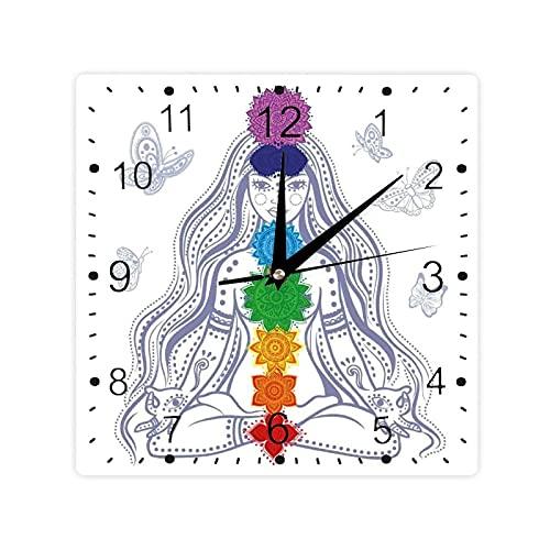 Chica en loto con coloridas piedras de chakra yoga meditación relax tema oriental color cuadrado morden reloj Slient