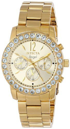 """Invicta Women's 14157 """"Angel"""" 18k Gold Ion-Plated Stainless Steel and Aquamarine Watch"""