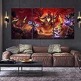 WANGZUO ImpresióN HD Pintura 3 Piezas Videojuego World of Warcraft Cuadro En Lienzo, Cuadros Modernos SalóN Decoracion De Pared Canvas Prints, Wall Art Modular Poster Mural Decorativo-50x70CMx3