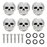 Wbestexercises Tuning Peg Caps, 6pcs Guitar Tuners Machine Head Skull Shape Tuning Key Button Cap Replacement Parts for Folk Electric Guitar (Silver)