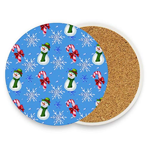 Christmas Snow Snwoman Coasters for Drinks 2 Pieces Set Winter Xmas Candy Cane Bar Cup Coaster Coffee Mug Glass Pad Tabletop Protection Mat for Housewarming Table Kitchen Dining Home Decor
