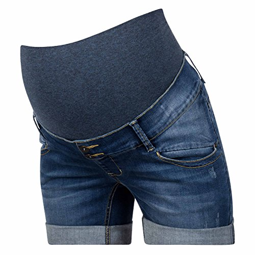 Love2Wait Cargoshorts Kurze Hose Umstands Umstandsshorts Shorty o. Jeans Shorts Umstandsmode Damen Hose (S (36-38), Jeans Denim)
