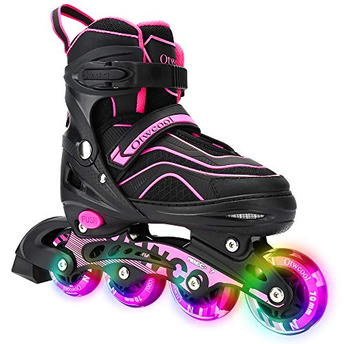Otw-Cool Adjustable Inline Skates for Kids and Adults, Outdoor Blades Roller Skates with Full Light Up LED Wheels, Safe and Durable Inline Roller Skates for Girls and Boys, Men and Women (Large)