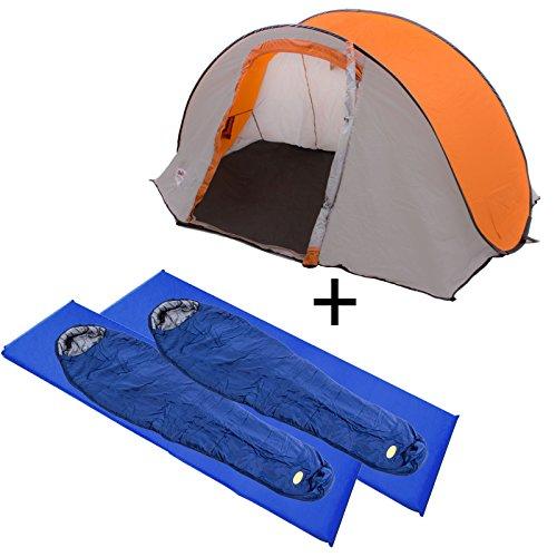 Camping Set Composé de Reimo Tente Zermatt pour 2 personnes + 2 x Camp 4 Sac de couchage sarcophage + 2 x Camp 4 Matelas isolant autogonflant
