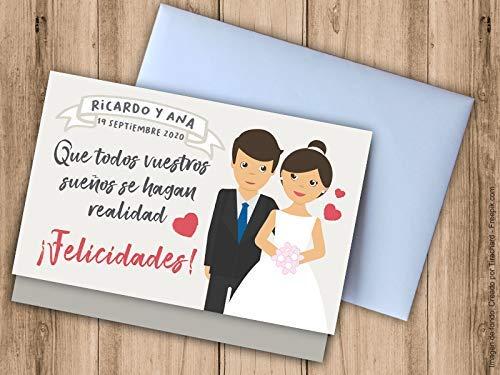 Tarjeta sobre para regalar dinero a los novios, personalizable. Sobres para bodas.