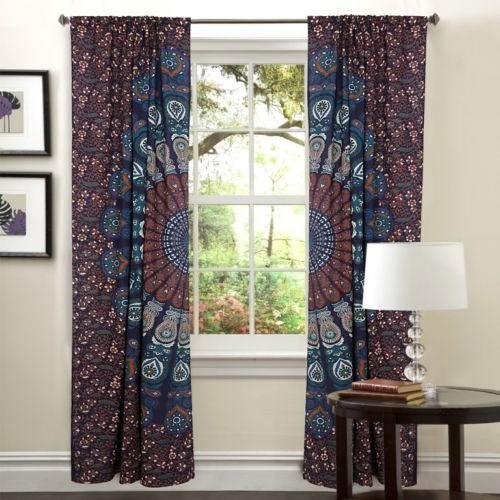 textile treasure Indian Handmade Home Decor Bohemian Hippie Gypsy Cotton Curtain Balcony Sheer Boho Chic Window Treatments Window Treatments Room Darkening