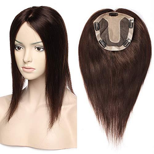 TESS Pony Haarteil Clip in Extensions Echthaar Topper Haarverlängerung Silk Base Toupet Hair Extensions für Frauen 12