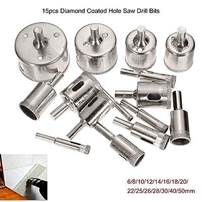 New 15Pcs 6-50mm Diamond Hole Saw Drill Bit Set 100 Grits Tile Ceramic Glass Marble Drill Bits corn hole saw blade 5.13 2.16 nmo diablo kit 1.4mm drill bits