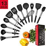Kitchen Utensil Set 13 Cooking Utensils Silicone and Stainless Steel Turner Spatula Spoon Tongs Whisk Ladle Pasta Server Kitchen Gadgets Cookware Set for Nonstick Cookware Kitchen Tool Set by ROMEKER