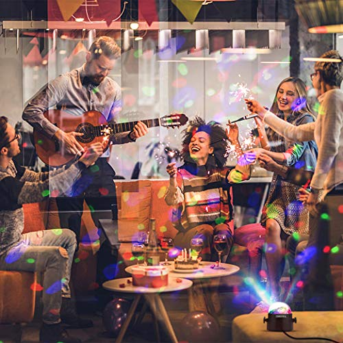 Techole Discokugel LED Party Lampe Musikgesteuert Disco Lichteffekte Discolicht mit 4M USB Kabel, 7 Farbe RGB 360° Drehbares Partylicht mit Fernbedienung für Weihnachten, Kinder, Kinderzimmer, Party - 5