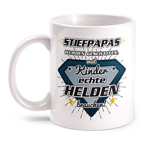 Fashionalarm Tasse Stiefpapas wurden geschaffen weil Kinder echte Helden brauchen beidseitig bedruckt mit Spruch | Geschenk Vatertag Herrentag, Farbe:weiß