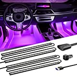 SEALIGHT Interior Car Lights, 72 Car LED Lights, 8 RGB colors, Sound Active Function Under Dash Lighting Kit, USB Light Strips with Control Box and Car Charger