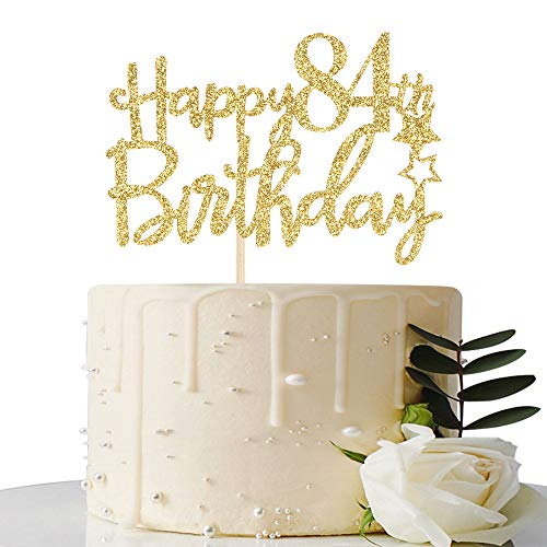 Gold Glitter Happy 84th Birthday Cake Topper - 84 Cake Topper - 84th Birthday Party Supplies - 84th Birthday Party Decorations