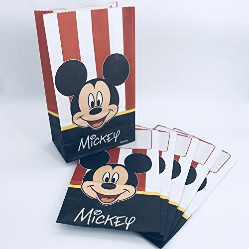 Neu in 2018: 6 Papiertüten * Mickey Mouse * für Mitgebsel bei Kindergeburtstag oder Motto-Party | mit Stehfalz und Namensschild | Partytüten Tüten Geschenktüten Kinder Geburtstag