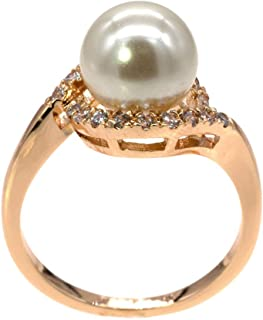 8 mm Pearl Ring Ivory AAA CZ Micro Pave Size 5-10 Wedding Jewelry