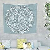 Mandala Lotus Tapiz de pared colgante indio decorativo pañuelo Tapestry tapicería pared arte para dormitorio salón como toalla de playa picnic manta 150 x 130 cm blanco