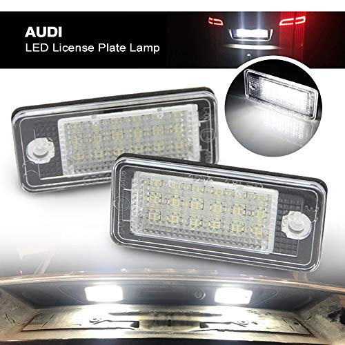 Audi Led License Plate Light - Nslumo LED Rear Tag Lamp Car Number Light for Audi A3 S3 A4 S4 A6 C6 S6 A8 S8(d3) Q7 Rs4 Rs6 18smd 2pcs/set with Canbus