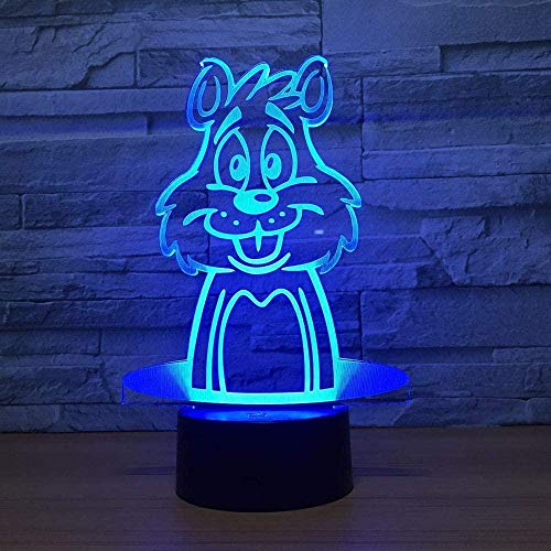 YOUPING 3D Phantom Light Mouse Shape Creative Illusion Lamp LED Night Light Acrylic Discoloration 7 Color Changing Atmosphere Lamp Lighting Touch LED Children Night Light (Color: Touch)