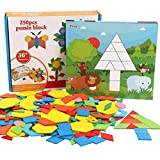 MorTime 250 Pcs Wooden Pattern Blocks and Boards Set, Sturdy Play Board with 10 Double-Sided Jigsaw Cards