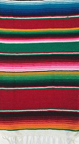 Sarape mexicain à usages multiples (chemin de table, petite couverture, châle, écharpe) multicolore de 140x 60cm pour le yoga, méditation, festivals, pique-nique
