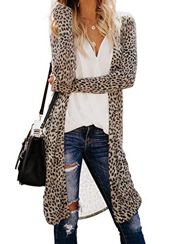 Itsmode Damen Strickjacke Lang Cardigan Leopard Casual Langarm Wasserfall Jacke Gestrickt Sweatshirt Übergroß Lose Outwear Mantel Langarmshirt Strickmantel mit Tasche