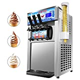 Weanas Commercial Soft Ice Cream Machine 1200W 3 Flavors 20L/H (5.28Gallon/H) LCD Display Serve Ice Cream Maker Machine for Coffee Shop or Family Party 110V, 60Hz