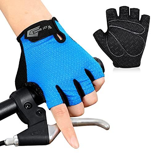 West Biking Fahrradhandschuhe halbefinger Herren, rutschfeste stoßdämpfende Mountainbike-Handschuhe, Atmungsaktive Fingerlose Sommer Sporthandschuhe für Straße Reiten Laufen Trainieren