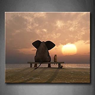 First Wall Art - Elephant And Dog Sit On A Summer Beach Wall Art Painting The Picture Print On Canvas Animal Pictures For Home Decor Decoration Gift (Stretched By Wooden Frame,Ready To Hang)