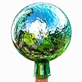 Lauschaer Glaskunst-Gartendeko Thüringer Rosenkugel - 15 cm - Mint Craquelet