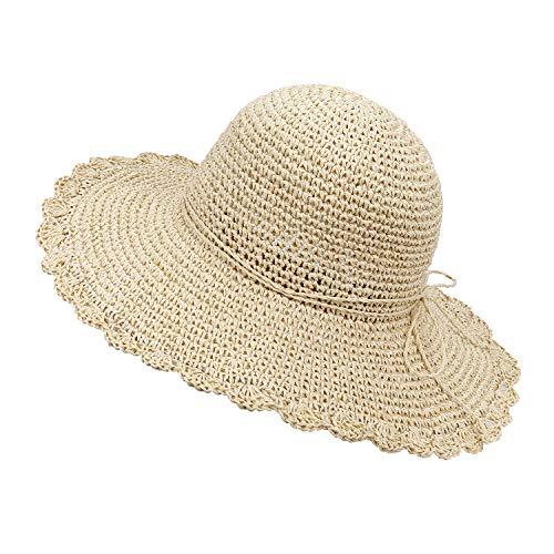 MaoXinTek Pieghevole Cappello Parasole di Paglia Cappello Tesa Larga Regolabile Cappelli da Sole Donna Cappello da Spiaggia per Vacanze Beige
