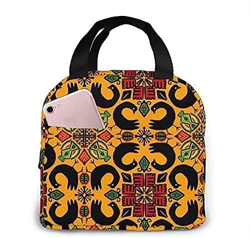 Kwanzaa Adinkra Birds Tragbare Isolierte Lunchtasche Wasserdicht Mittagessen Tote Handtasche für Arbeit Reisen Wandern Picknick Angeln