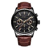LIGE Watch Men's Fashion Waterproof Sports Chronograph Analogue Quartz Stainless Steel Business Leat...