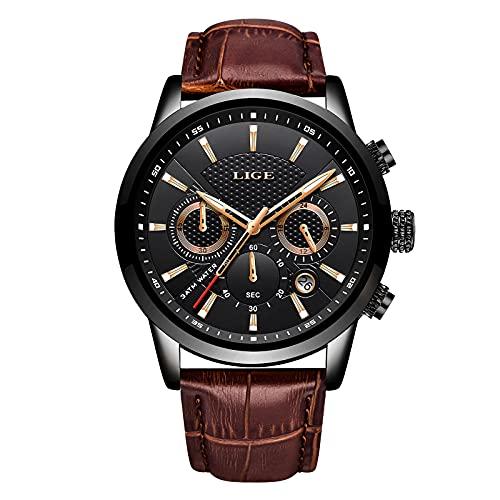 LIGE Chronograf męski zegarek skórzany, wodoszczelny, analogowy, kwarcowy, stal szlachetna, klasyczny, biznesowy zegarek na rękę bransoletka 8.07 brązowy