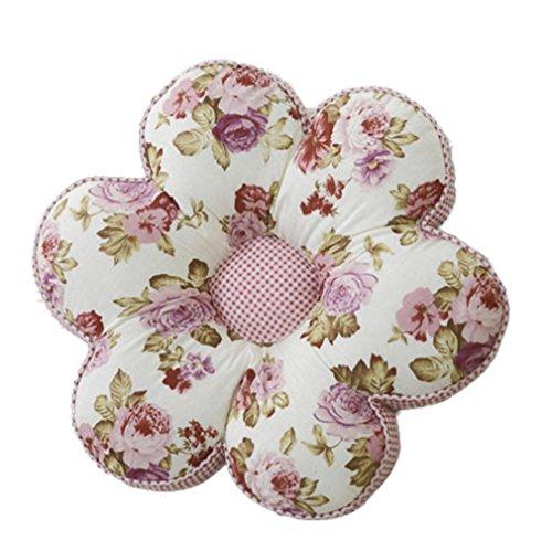 Nunubee Kissen Baumwollmaterial Blumenform Tatami-Stil zierkissen mit füllung apelt kissenhülle Vintage deko Dekoration deko Kissen deko Wohnzimmer Autodekoration Sofa Cover, Lila Rose 40x40cm