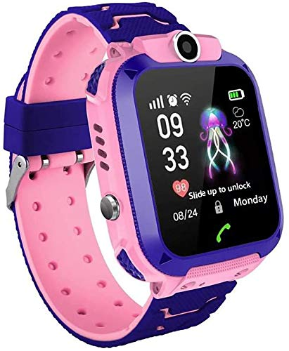 MUXAN Kids GPS Tracker Smartwatch Impermeabile IP67 Smart Orologio da Polso con SOS Alarm Clock Digital Watch Camera Torcia Giochi per Bambini Compatibile con iOS/Android (Rosa)