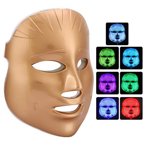 7 couleurs LED couleur claire masque léger rajeunissement de la peau élimination de l'acné instrument de beauté soins de la peau du visage(01)