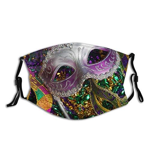 Mardi Gras Masks Reusable Face Mask Washable Breathable Face Cover Cloth Bandanas Dust Protection for Men Women
