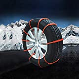 soyond Car Tire Snow Chains - Emergency Anti Slip Adjustable Traction Upgraded TPU Tire Chain, for SUV ATV Truck Winter Universal Tire (red)