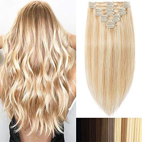 Clip-In-Extensions-Echthaar für komplette 100% Remy Echthaar Haarverlängerung 80g-33cm (#18/613 Light Aschblond/Weißblond)