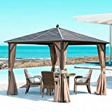 MELLCOM Hardtop Gazebo Galvanized Steel Outdoor Gazebo Canopy Double Vented Roof Pergolas Aluminum Frame with Netting and Curtains for Garden,Patio,Lawns,Parties (10' x 10')